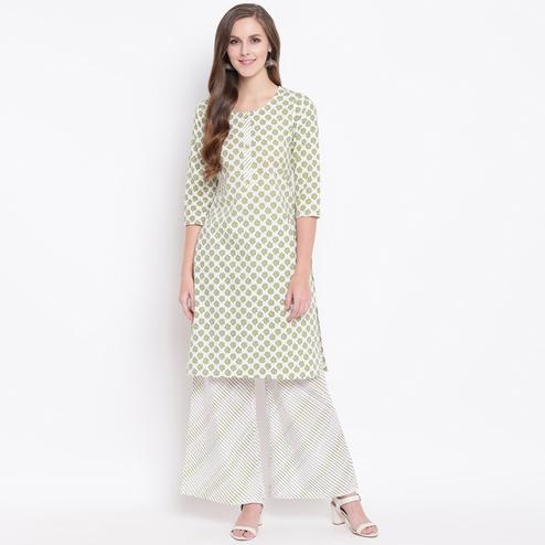 Amazing Green Colored Casual Printed Cotton Kurti-Palazzo Set