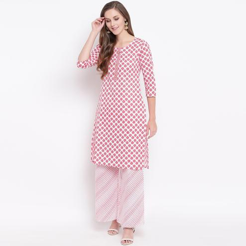 Gorgeous Red Colored Casual Printed Cotton Kurti-Palazzo Set