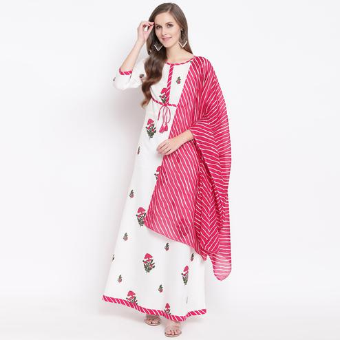 Blissful White Colored Casual Floral Printed Rayon Kurti With Dupatta