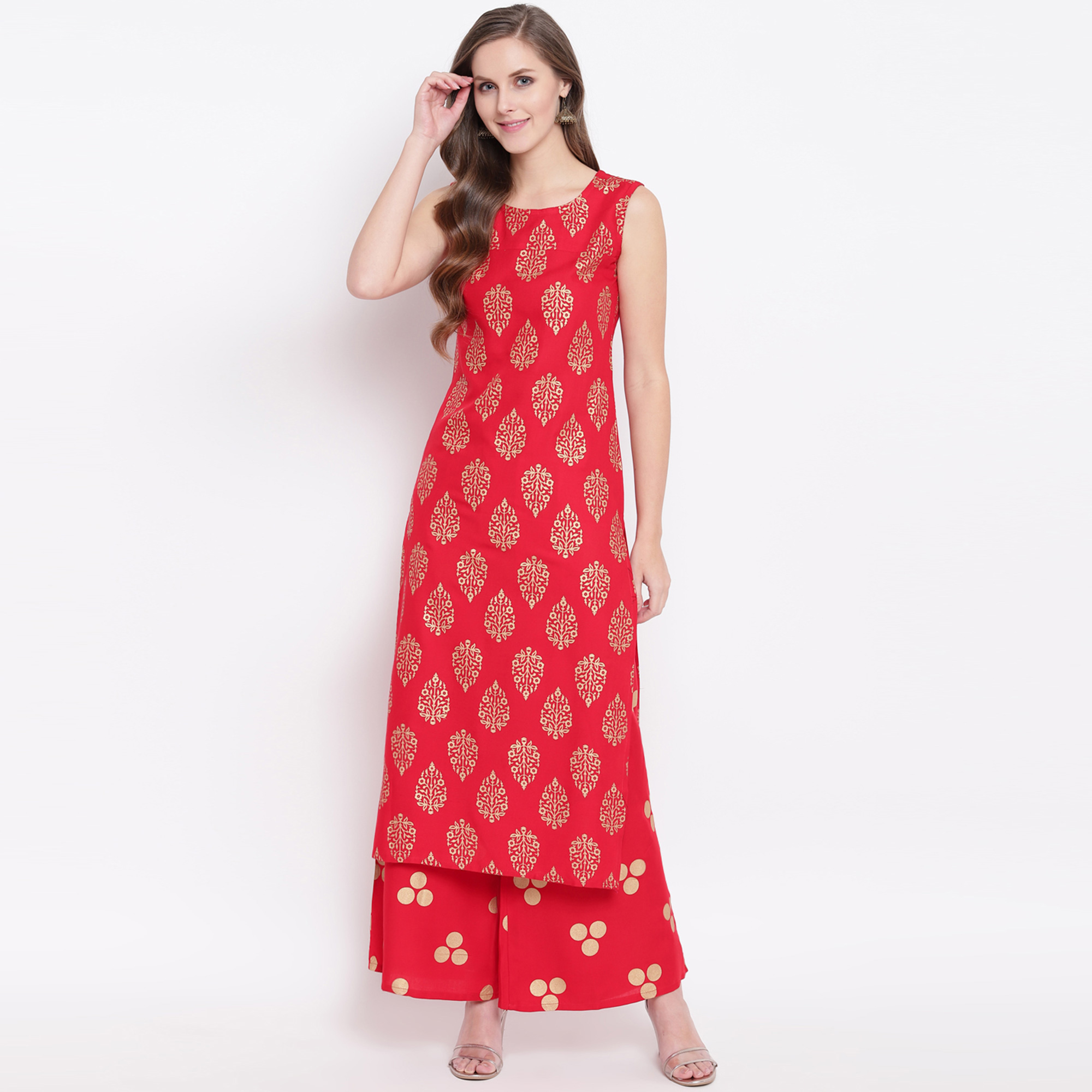 Ideal Red Colored Casual Foil Printed Rayon Kurti-Palazzo Set