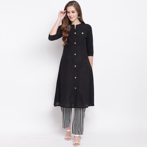 Majesty Black Colored Casual Wear Cotton Kurti-Bottom Set