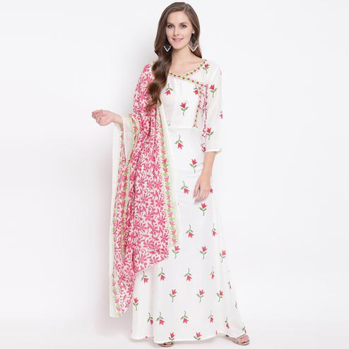 Impressive White Colored Casual Floral Printed Rayon Kurti With Dupatta