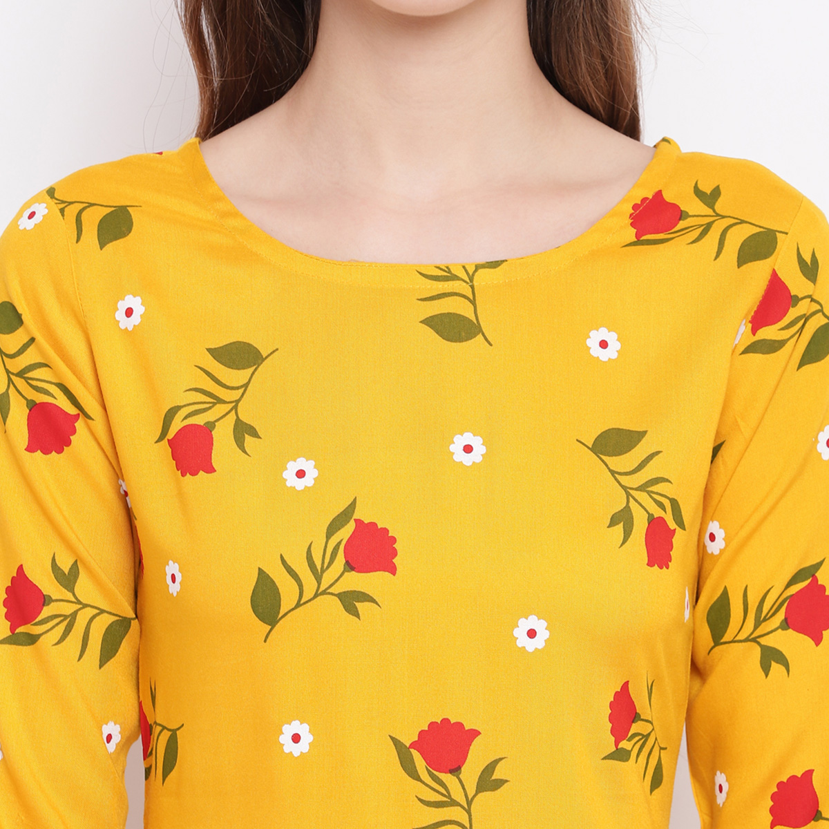 Mesmerising Yellow Colored Casual Floral Printed Rayon Suit