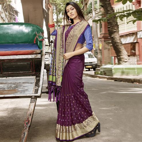 Hypnotic Purple Colored Festive Wear Woven Chanderi Silk Saree