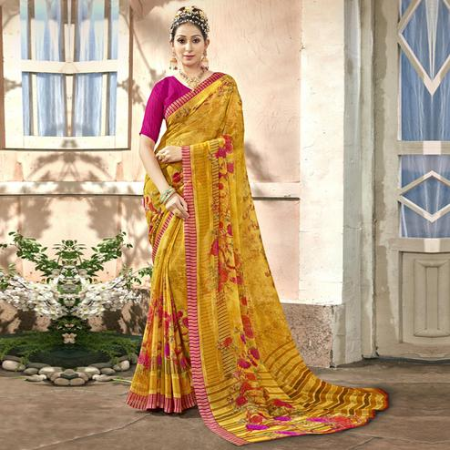 Adorable Yellow Colored Casual Printed Chiffon Saree
