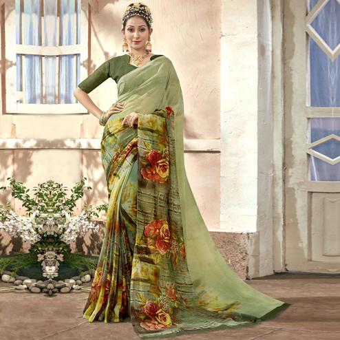 Glorious Light Green Colored Casual Printed Chiffon Saree