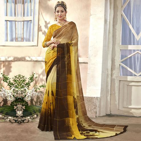 Beautiful Yellow Colored Casual Printed Chiffon Saree