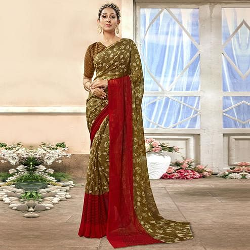 Blooming Green Colored Casual Printed Chiffon Saree