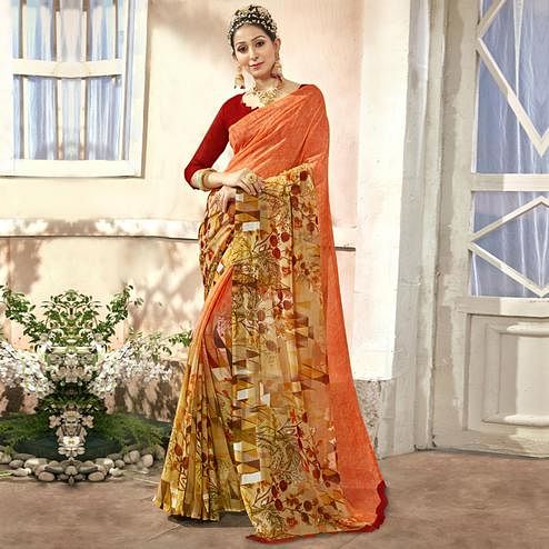 Charming Multi Colored Casual Printed Chiffon Saree