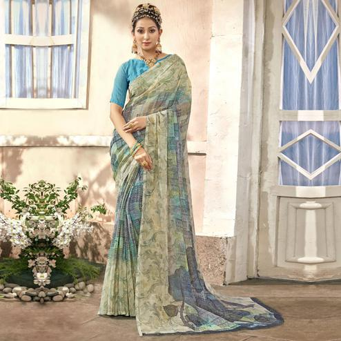 Jazzy Grey Colored Casual Printed Chiffon Saree