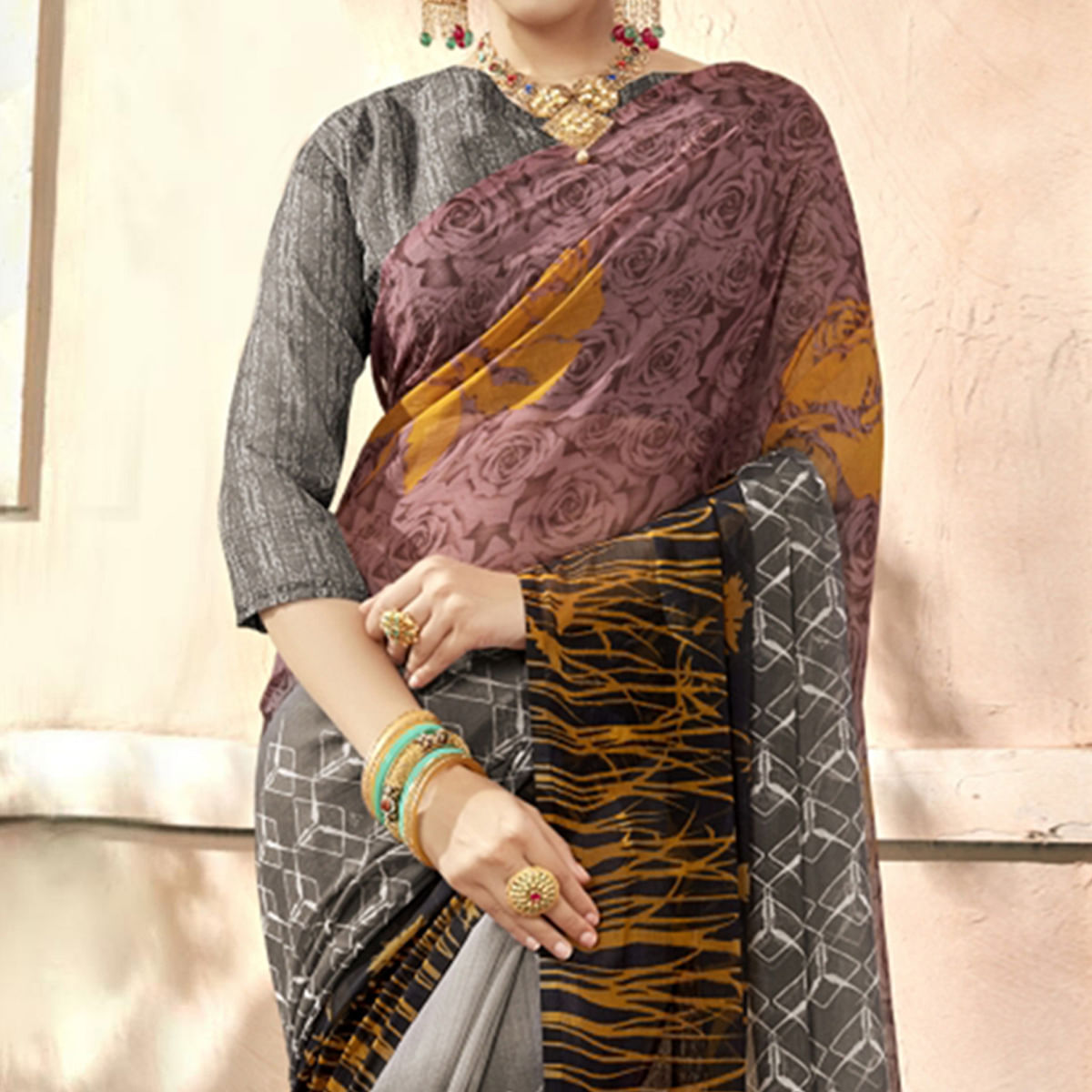 Delightful Grey-Multi Colored Casual Printed Chiffon Saree