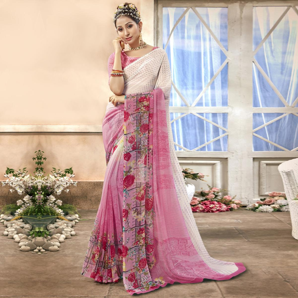 Engrossing Pink Colored Casual Printed Chiffon Saree