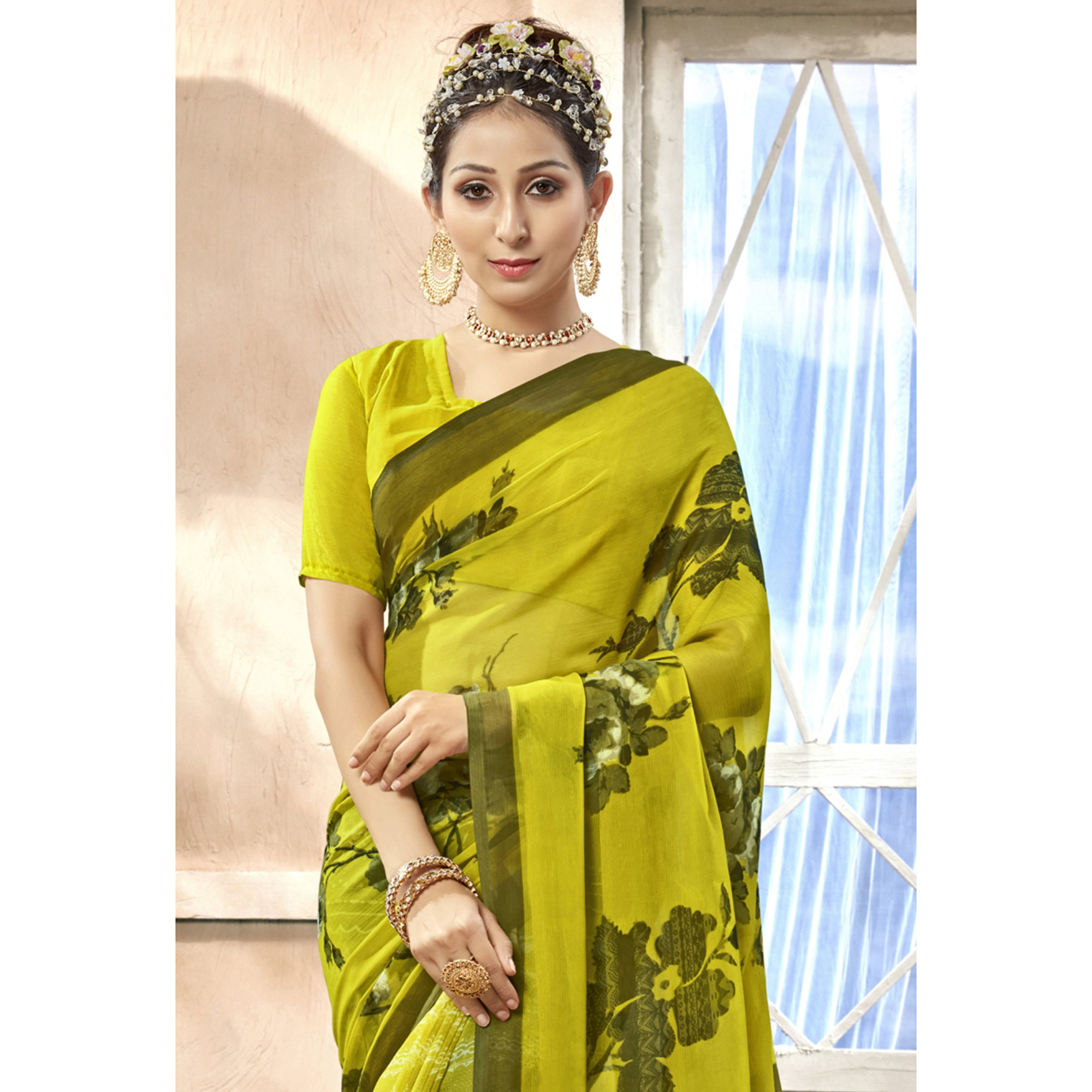 Captivating Lemon Green Colored Casual Printed Chiffon Saree