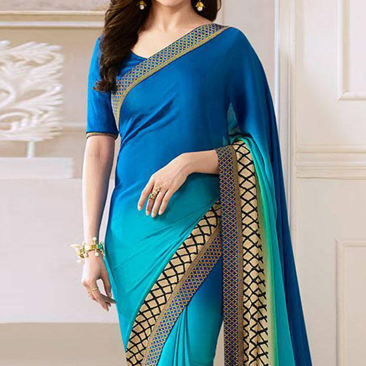 Shaded Blue Lace Border Work Saree