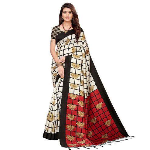 Adorable Off White-Black Colored Festive Wear Printed Art Silk Saree