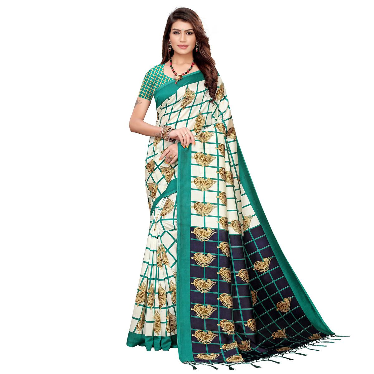 Glorious Off White-Green Colored Festive Wear Printed Art Silk Saree