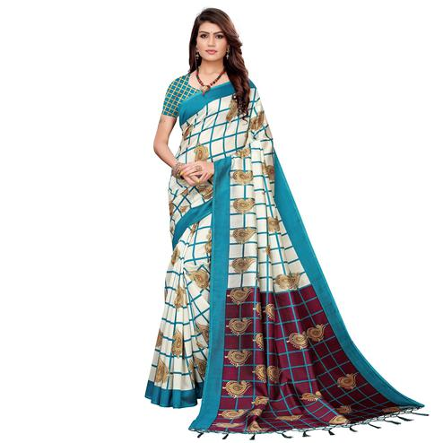 Attractive Off White-Sky BLue Colored Festive Wear Printed Art Silk Saree