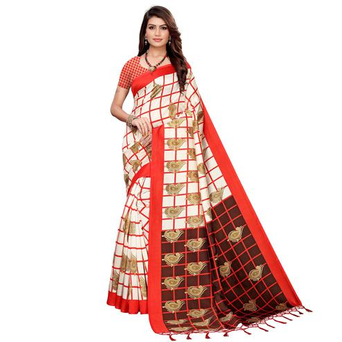 Beautiful Off White-Red Colored Festive Wear Printed Art Silk Saree