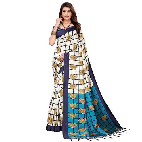 Graceful Off White-Navy Blue Colored Festive Wear Printed Art Silk Saree