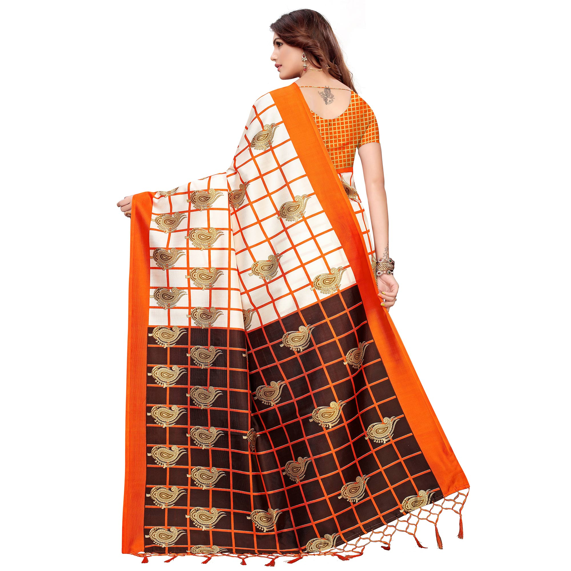 Blooming Off White-Orange Colored Festive Wear Printed Art Silk Saree
