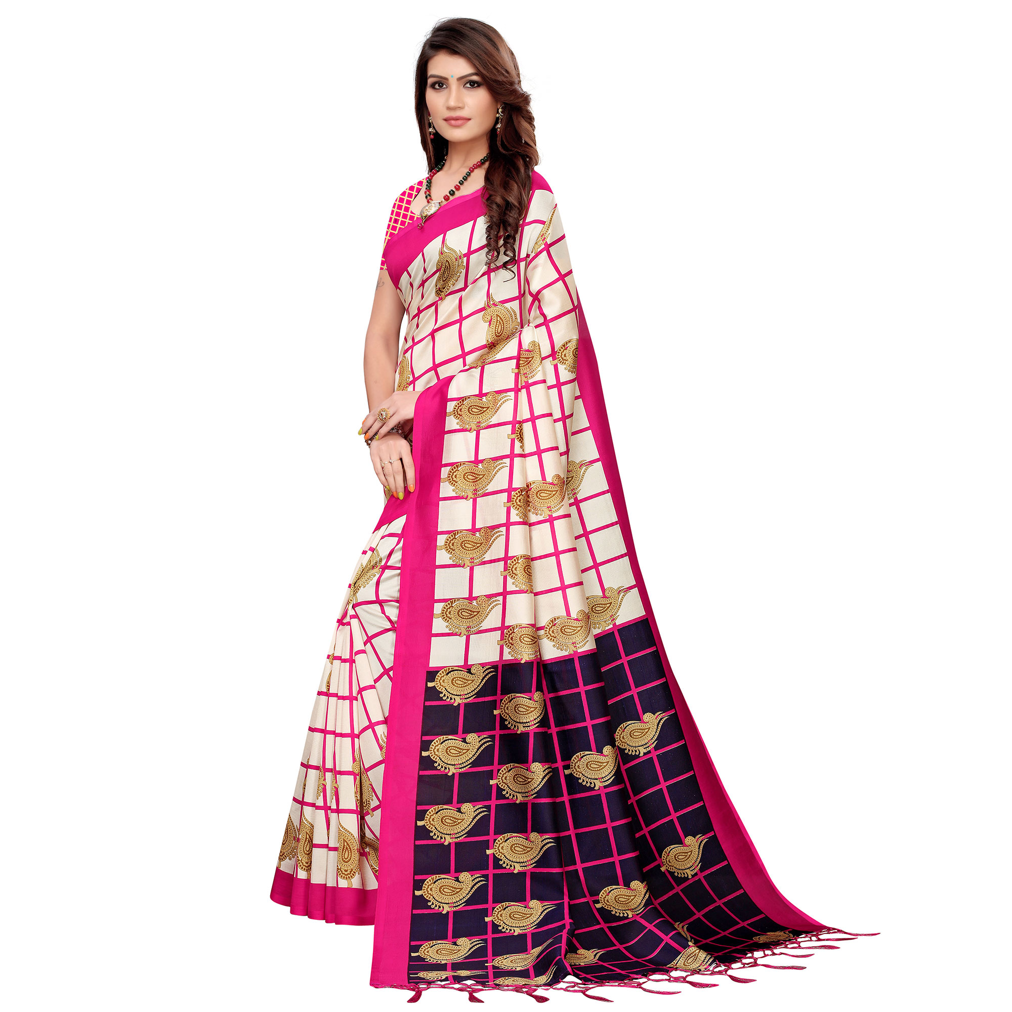 Charming Off White-Pink Colored Festive Wear Printed Art Silk Saree