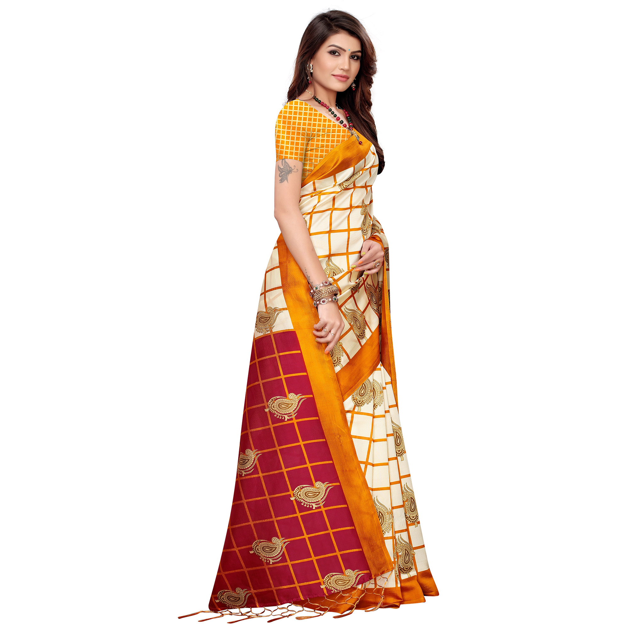 Jazzy Off White-Yellow Colored Festive Wear Printed Art Silk Saree