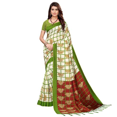 Delightful Off White-Green Colored Festive Wear Printed Art Silk Saree