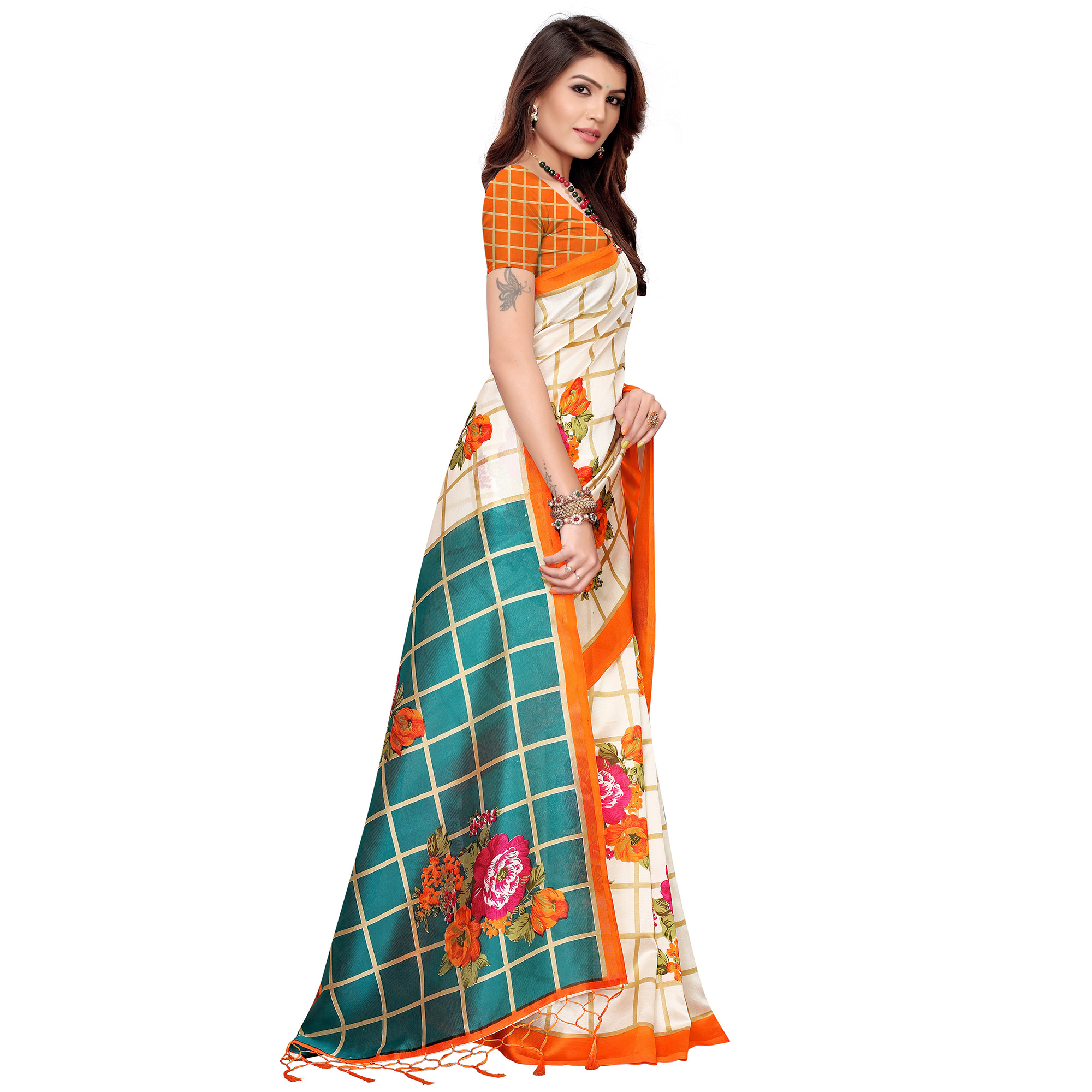 Engrossing Off White-Orange Colored Festive Wear Printed Art Silk Saree