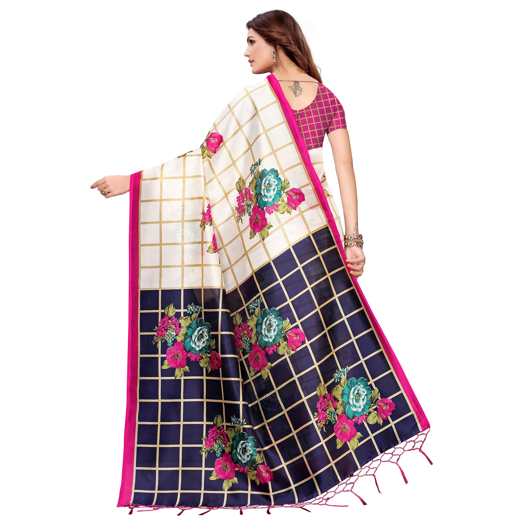Captivating Off White-Pink Colored Festive Wear Printed Art Silk Saree
