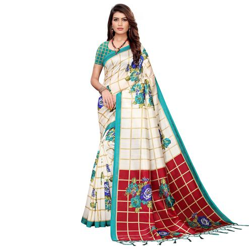 Innovative Off White-Aqua Green Colored Festive Wear Printed Art Silk Saree