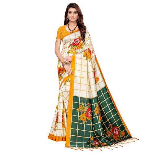 Glowing Off White-Yellow Colored Festive Wear Printed Art Silk Saree