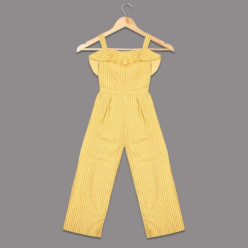 Pleasant Yellow Colored Casual Striped Printed Cotton Jumpsuit