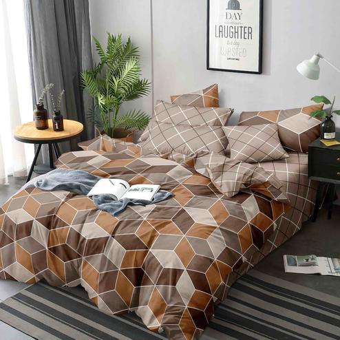 Trendy Brown Colored Printed Queen Sized Bed Sheet With 2 Pillow Covers