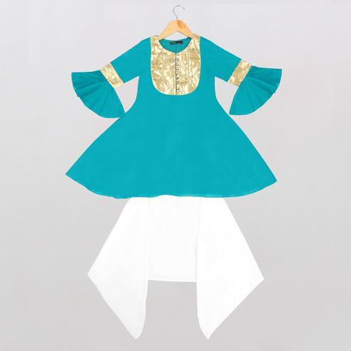 Exceptional Blue-White Colored Casual Wear Cotton Bell Sleeves Kurti-Dhoti Set