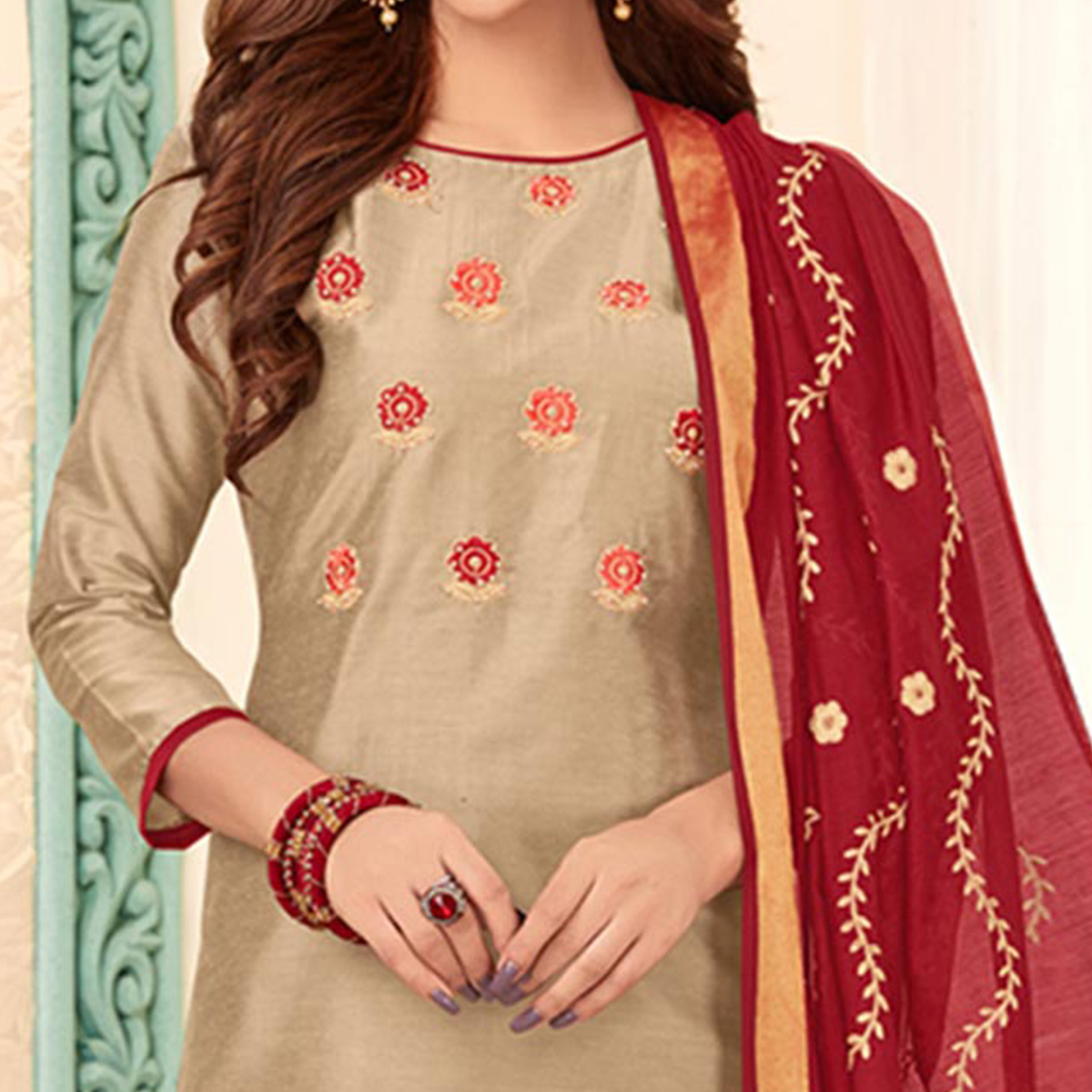 Imposing Beige Colored Partywear Embroidered Cotton Dress Material