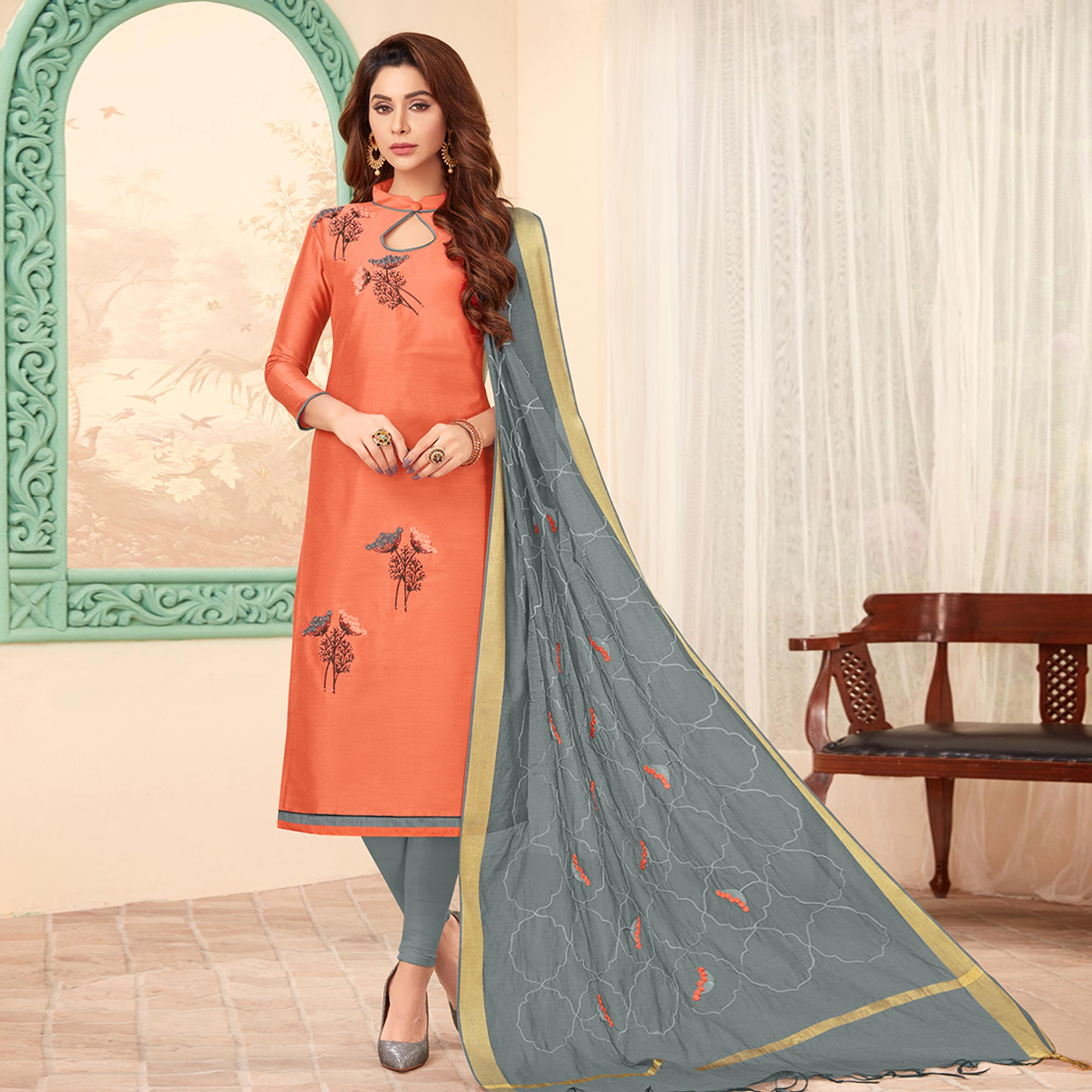 Lovely Peach Colored Partywear Embroidered Cotton Dress Material