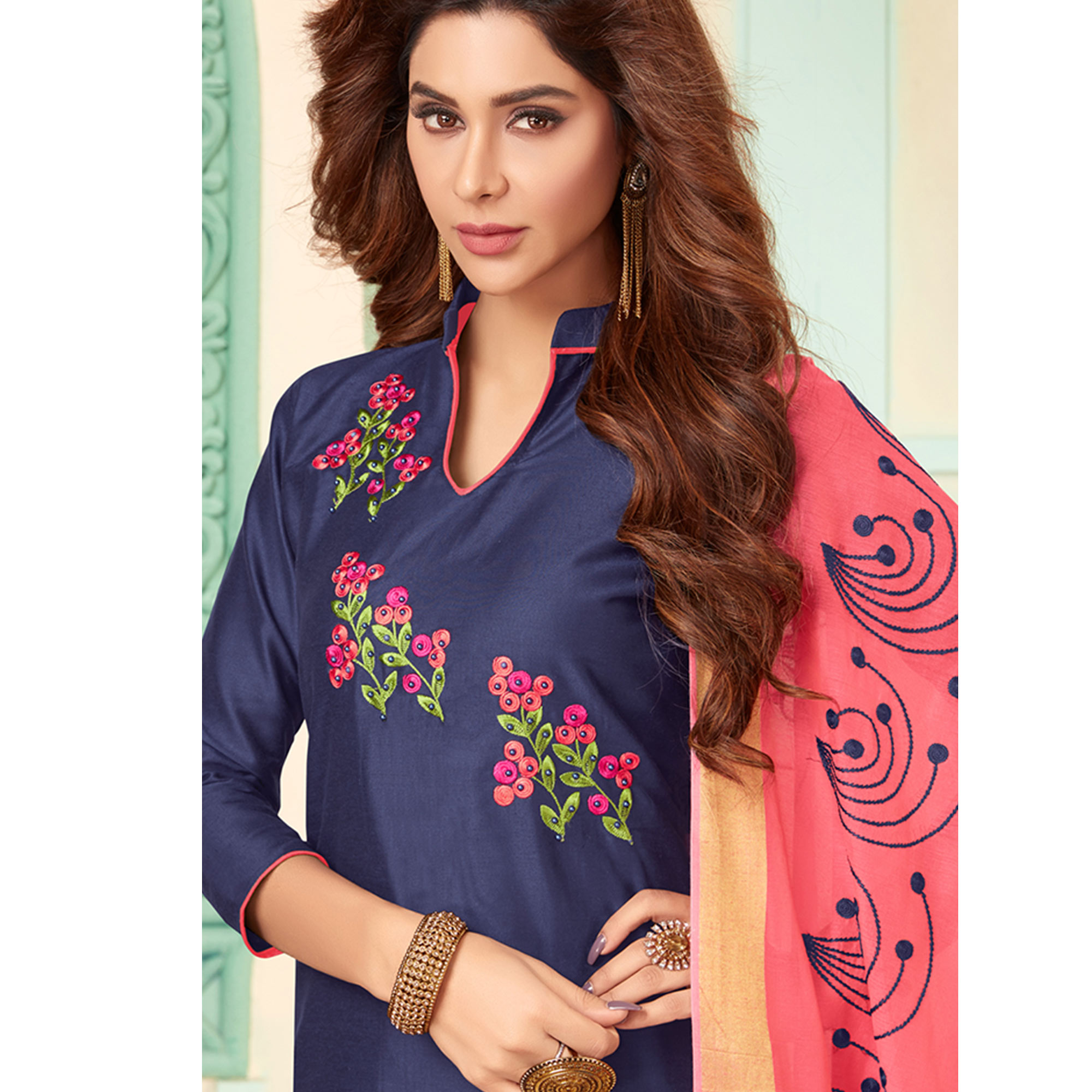 Mesmerising Navy Blue Colored Partywear Embroidered Cotton Dress Material