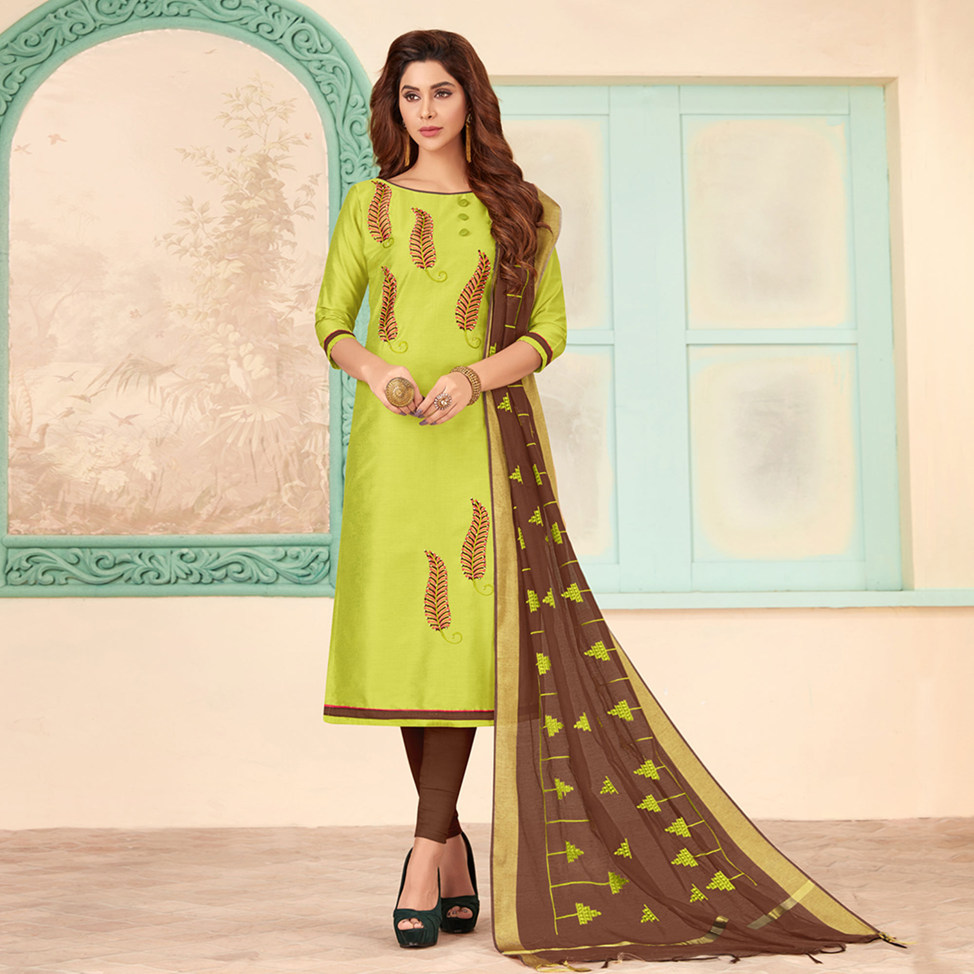 Pleasance Parrot Green Colored Partywear Embroidered Cotton Dress Material