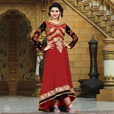 Red Asymmetrical Party Wear Suit
