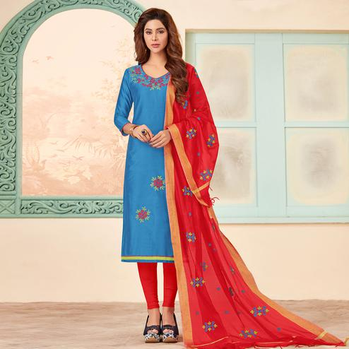 Breathtaking Blue Colored Partywear Embroidered Cotton Dress Material