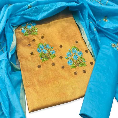 Ethnic Mustard Yellow Colored Partywear Embroidered Cotton Dress Material