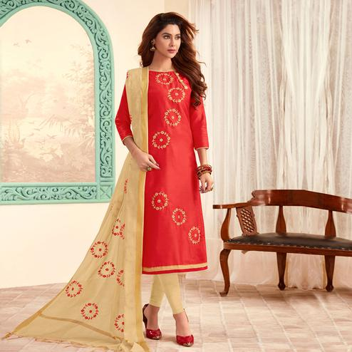 Ravishing Red Colored Partywear Embroidered Cotton Dress Material