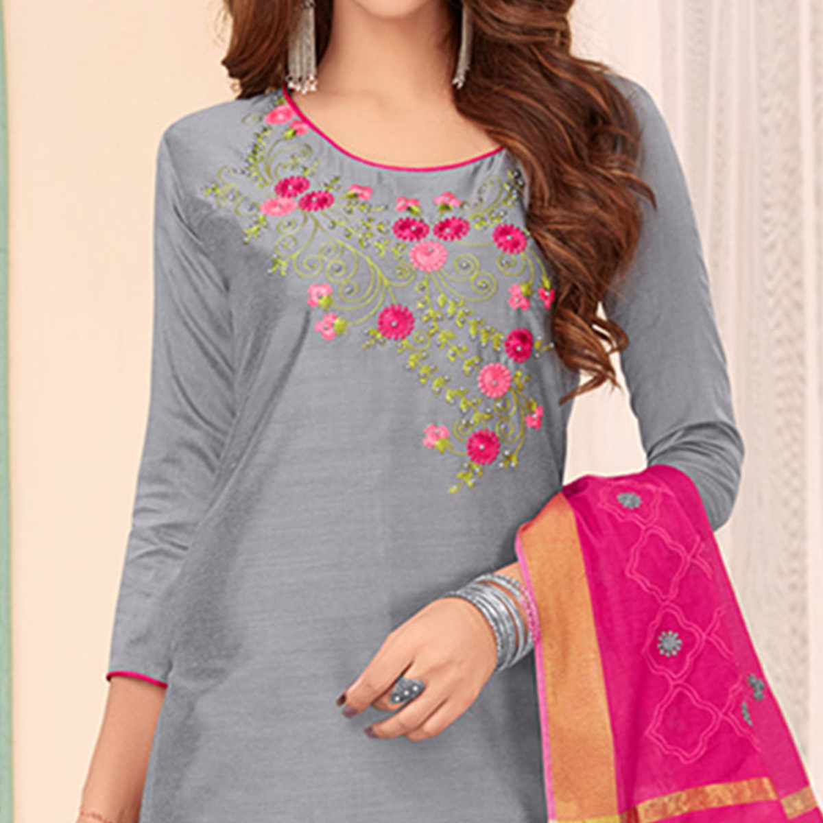 Staring Gray Colored Partywear Embroidered Cotton Dress Material