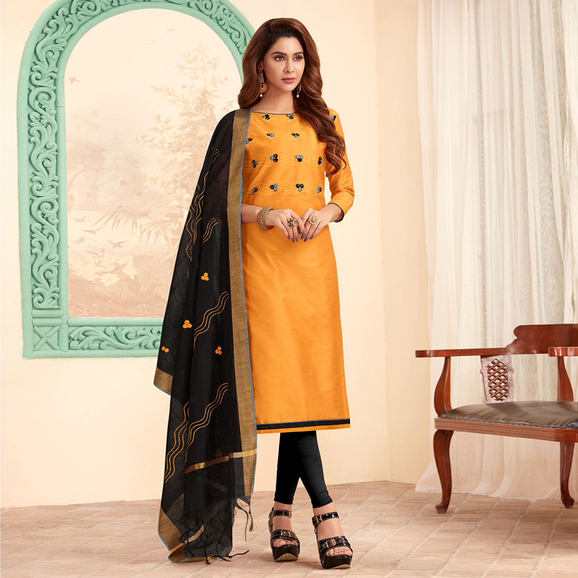 Dazzling Yellow Colored Partywear Embroidered Cotton Dress Material