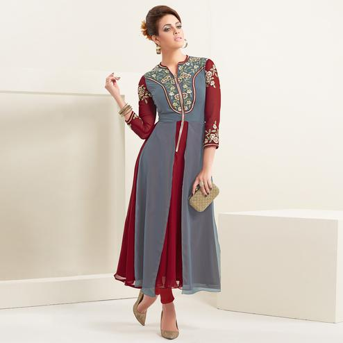 Excellent Maroon-Gray Colored Partywear Embroidered Georgette Kurti