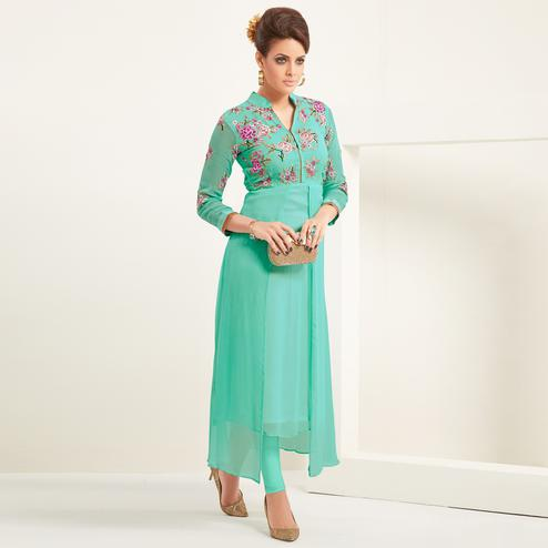 Preferable Aqua Green Colored Partywear Embroidered Georgette Kurti