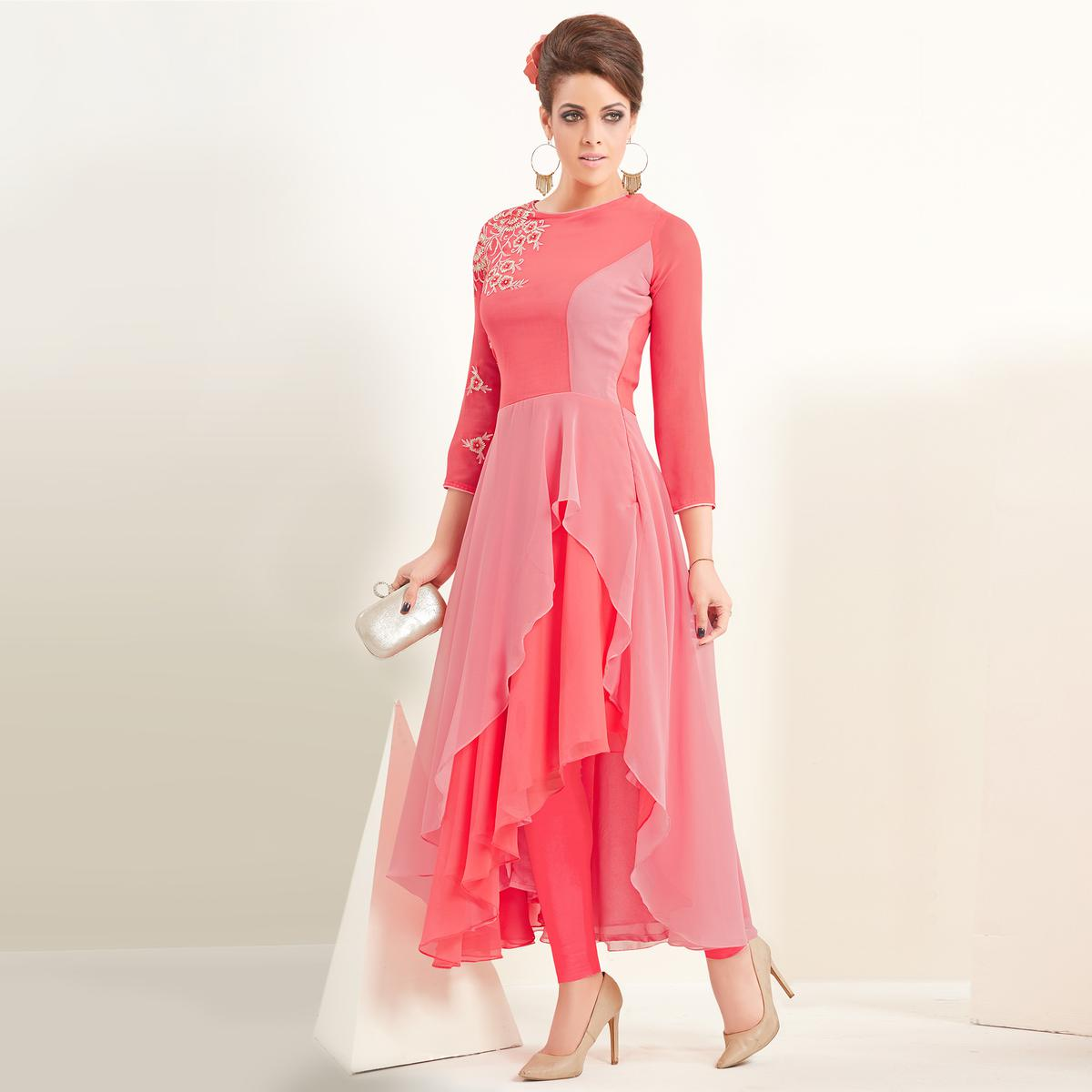 Marvellous Pink Colored Partywear Embroidered Georgette Kurti