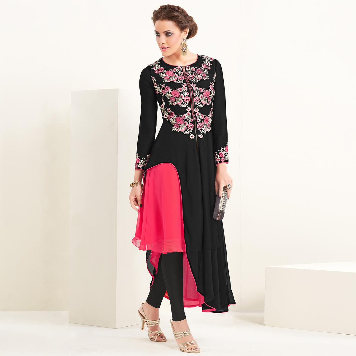 Flamboyant Black-Pink Colored Partywear Embroidered Georgette Kurti