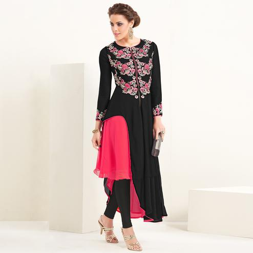 Black-Pink Colored Partywear Embroidered Georgette Kurti