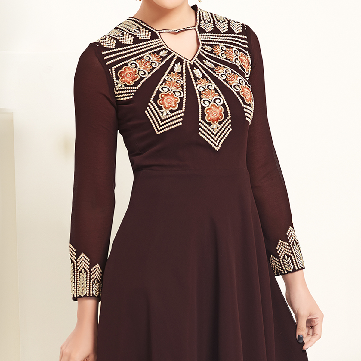 Alluring Brown Colored Partywear Embroidered Georgette Kurti